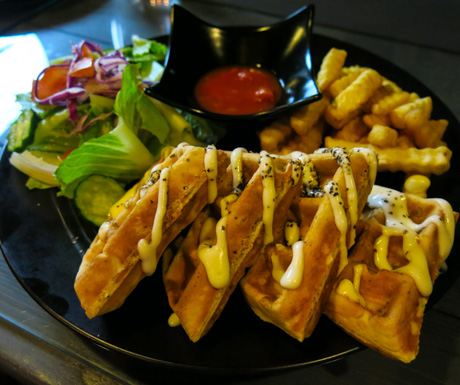 vegan waffles at SOUL R Vegan Cafe Taipei