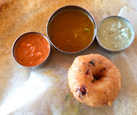 Dosa with all the trimmings and a vadai at Dwaraka