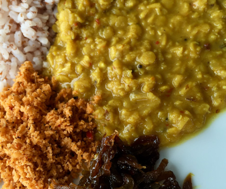 Dahl, rice and sambol for breakfast at OZO Colombo