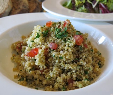Delicious vegan quinoa salad in the Ritz-Carlton Club Lounge.