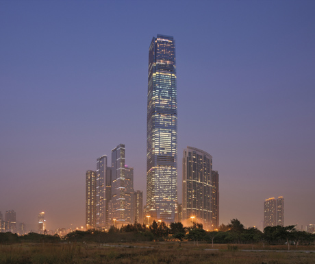The Ritz Carlton Hong Kong at night