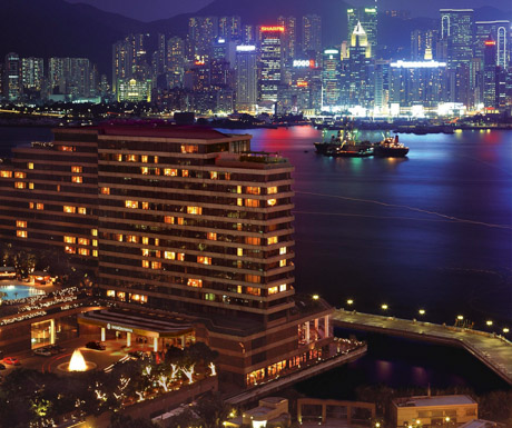 the InterContinental Hong Kong exterior view at night