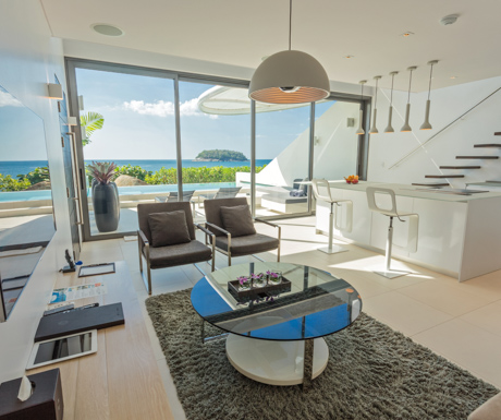 downstairs in our one bedroom ocean sky loft at Kata Rocks
