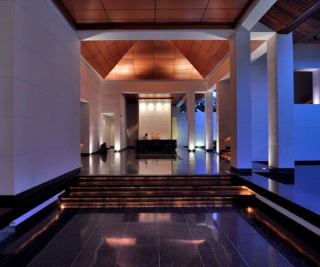 The calming reception lobby at Paresa sets the tone for your stay.