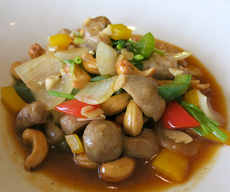 Sweet, spicy, delicious vegetables stir fried with cashew nuts at Paresa Resort Phuket