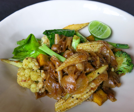 Vegan 'Pad See Ew' for a Thai style breakfast.