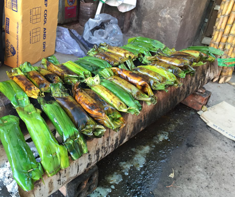 delicious bananas with rice baked in banana leaves in Kampot