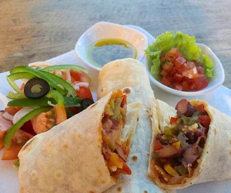 Veg burritos veganised at RikiTikiTavi