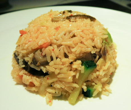 Freshly prepared vegetable fried rice with chilli