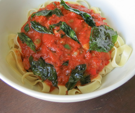 Durum wheat penne pasta and tomato sauce with spinach at Manila Marriott Hotel