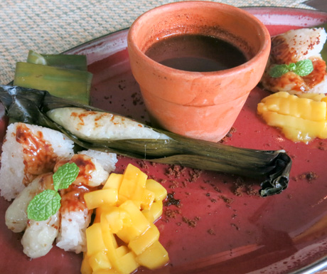 Puto is a traditional Philippine breakfast of sticky rice and hot chocolate