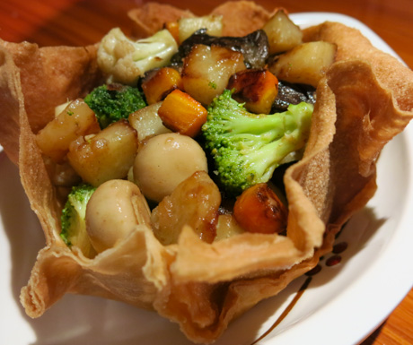 Wok-fried Mixed Deluxe Vegetables in a Crispy Yam Basket