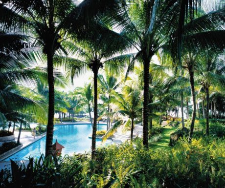 one of the swimming pools at Shangri-La Mactan Resort and Spa