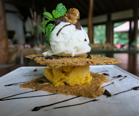 Sweet Coconut Crackers with Mango and Vanilla Ice Cream