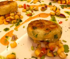 Fragrant spiced sweetcorn and potato cakes