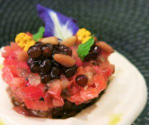 Ajo Blanco with tomato tartare at Acqua