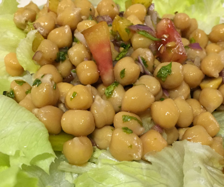 Chick pea salad for added vegan protein in Cebu