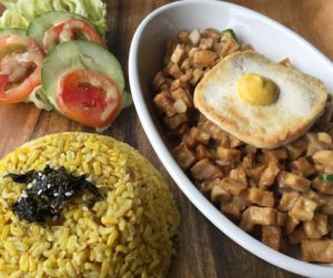 vegan Sisig' complete with vegan fried egg at Lunhaw