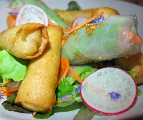 vegan fried spring rolls at Jaya House