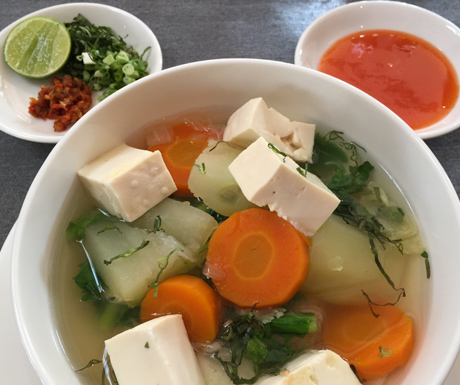 vegan soup with vegetables and tofu at Jaya House