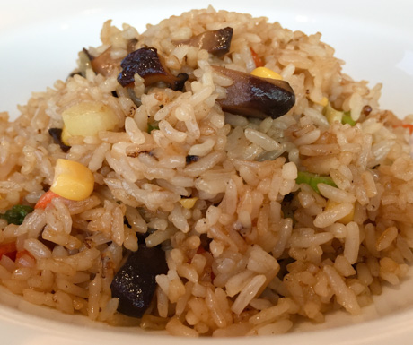 Flavour packed vegetable fried rice, suitable for vegans and tasty too.