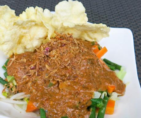 Gado-gado vegan style with a spicy rich peanut sauce... so good.