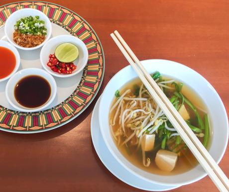 vegan noodle soup for breakfast