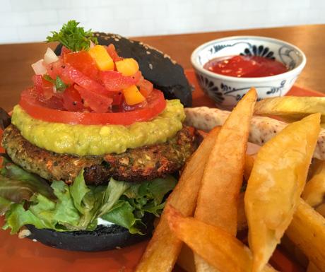 Vegan burger, guacamole, salsa served, charcoal bun, vegan, Bangkok, Thailandd
