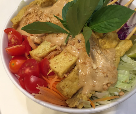 tofu, satay, vegan food, vegan Bangkok, vegan Thailand