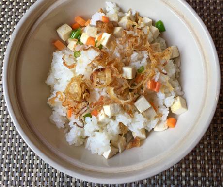 Rice, tofu, vegetables, fried shallot