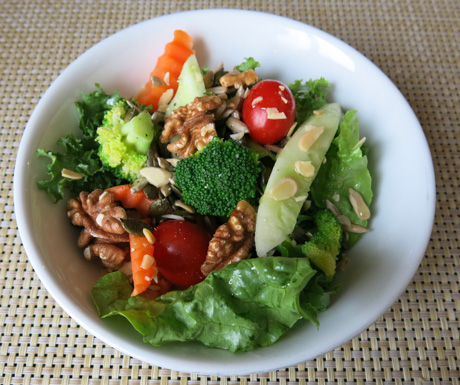 Salad bowl, almonds, walnuts, vegan, vegan food, Vietnam
