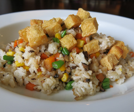Vegan food, fried rice, vegetables, tofu, Vietnam