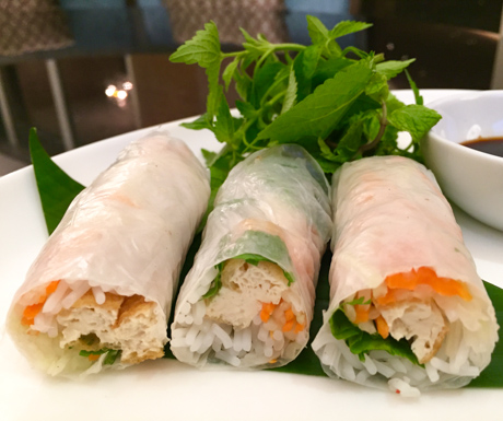 Fresh spring rolls, tofu, rice noodles, vegan food, Vietnam