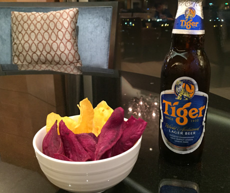 Tiger Beer, beetroot chips, sweet potato chips, vegan