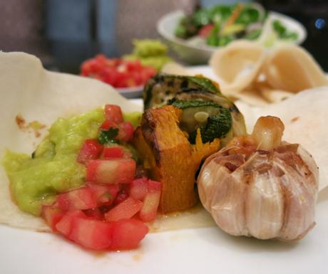 Flour tortilla wraps, roasted veg, guacamole, tomato salsa, vegan food, Vietnam