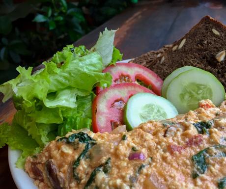 Tofu omelette, Jalus, vegan restaurant, vegan food, Hanoi, Vietnam