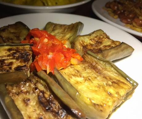 Eggplant, Junis, Indonesian, vegan restaurants, vegan food, Hanoi, West Lake, Vietnam