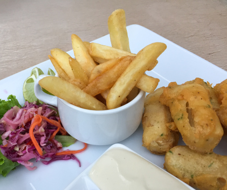 vegan fish and chips at Baby Elephant Boutique Hotel in Siem Reap