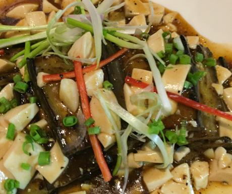 Soft tofu with smoked eggplant and chilli at Chanrey Tree