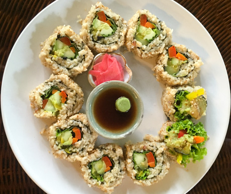vegan sushi at Peace Cafe in Siem Reap