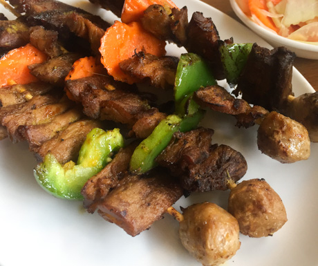vegan mushroom skewers at Vitking House in Siem Reap