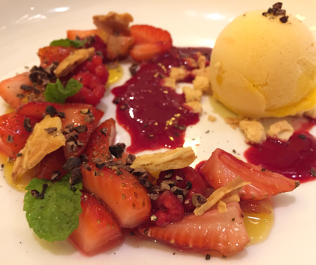 marinated red fruit, sorbet, cacao nibs, mint, vegan dessert