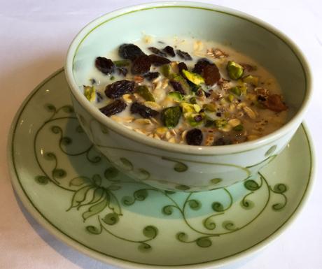 Muesli, soya milk, nuts, dried fruit