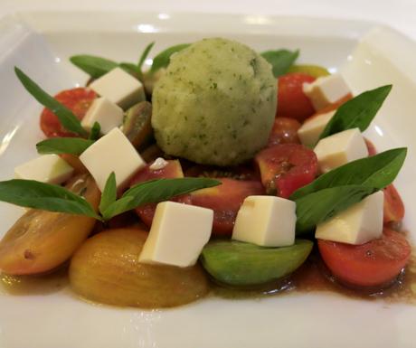 heirloom baby tomatoes, tofu, vegan, sorbet