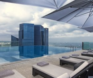 view of the swimming pool on the rooftop of Westin Singapore