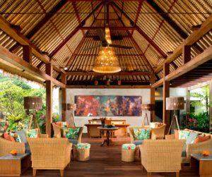Bright and colourful reception at Alaya Resort Jembawan