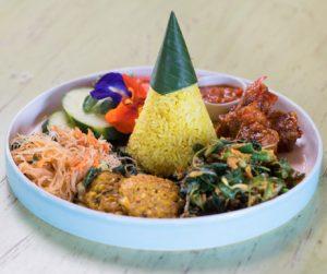 Vegan nasi kuning for breakfast