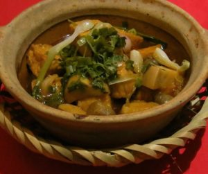 vegan mushroom and tofu dish cooked in a claypot at An Lam Villas
