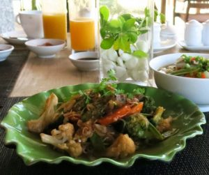 Stir fried glass noodles with vegetables and pho for breakfast at An Lam Villas