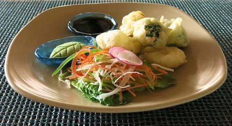 perfectly cooked vegan tempura at Ayada Maldives